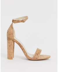 Glamorous Cork Barely There Block Heeled Sandals