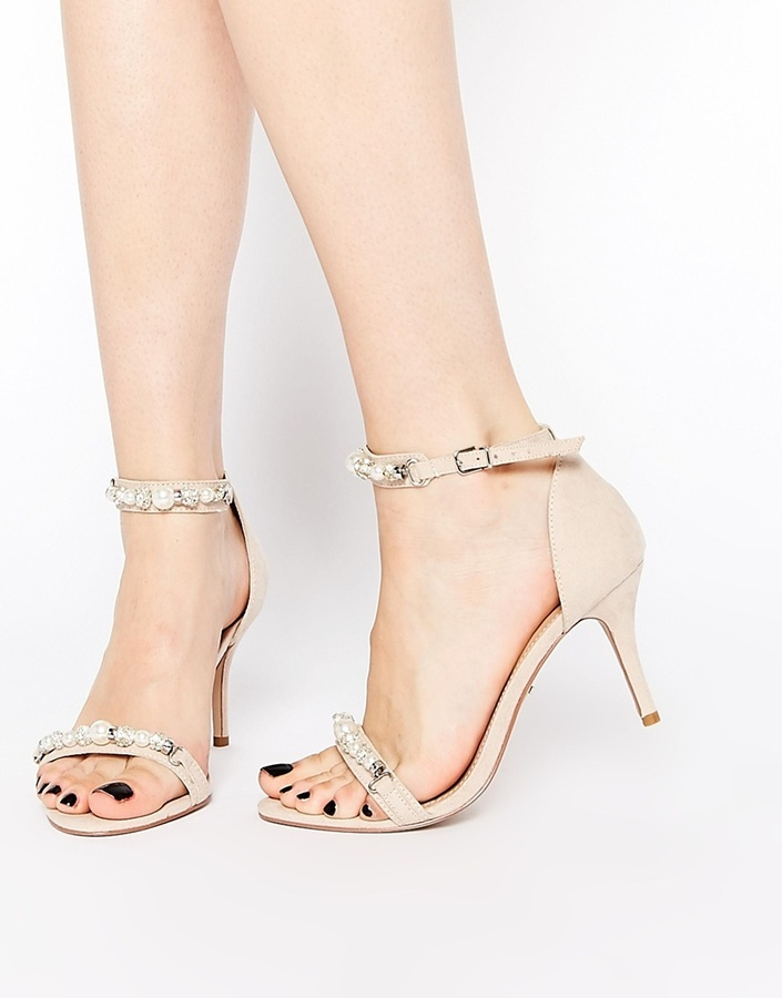 fa2d1a08fe7 ... Beige Leather Heeled Sandals Carvela Gel Nude Embellished Kitten Heel  Sandals ...