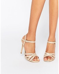 Head Over Heels By Dune Melaniey Nude Snake Effect Heeled Sandals