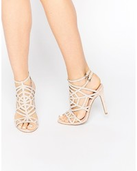 Faith Little Nude Embellished Caged Heeled Sandals