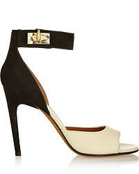 Givenchy Shark Lock Nubuck And Textured Leather Sandals In Beige And Black