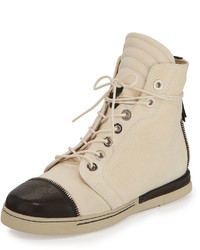 Beige Leather High Top Sneakers