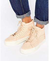 Vans Sk8 Hi Reissue Sneakers In Neutral Leather
