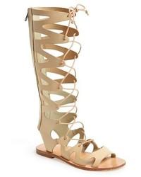 cc11eeb0d734 Chloé Chloe Suede Gladiator Tall Wedge Sandal Cream Puff