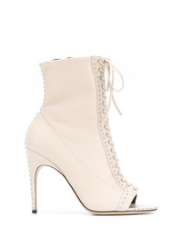 Sergio Rossi Lace Up Open Toe Boots