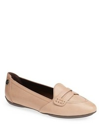 Beige Leather Loafers