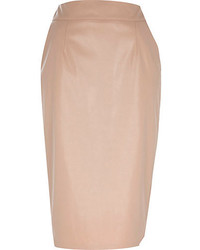 Beige Leather Pencil Skirt