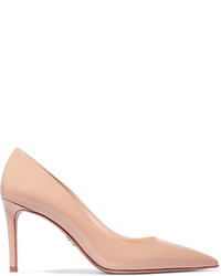 Prada Glossed Textured Leather Pumps Beige