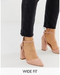 Raid Wide Fit Katy Blush Heeled Shoes
