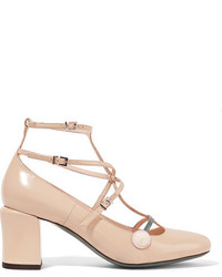 Fendi Rainbow Leather Pumps Beige