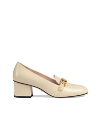 Gucci Sylvie Leather Mid Heel Pumps
