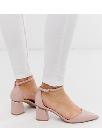 ASOS DESIGN Wide Fit Pointed Mid Heels In Beige Croc
