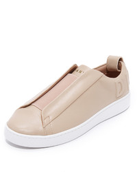 Beige Leather Slip-on Sneakers