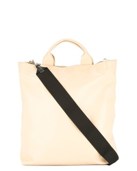 Beige Leather Tote Bag