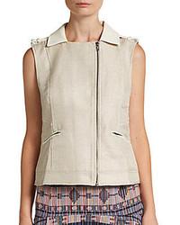 Beige Leather Vest