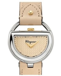Salvatore Ferragamo Buckle Leather Strap Watch 37mm
