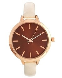 Asos Large Face Slim Strap Watch Cream