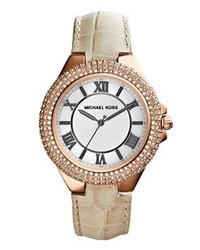 MICHAEL Michael Kors Michl Kors Slim Camille Pave Bezel Leather Strap Watch 33mm Cream Rose Gold