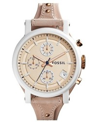 Fossil Original Boyfriend Chronograph Leather Strap Watch 38mm
