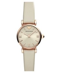 Emporio Armani Round Leather Strap Watch 22mm Nude Rose Gold