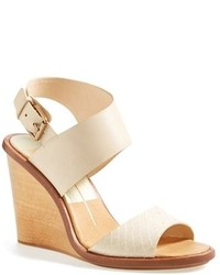 Beige Leather Wedge Sandals