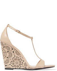 Burberry Prorsum Laser Cut Leather Wedge Sandals Beige