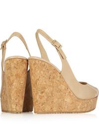 a00e624fddba ... Jimmy Choo Prova 120 Patent Leather Slingback Wedge Sandals Neutral ...