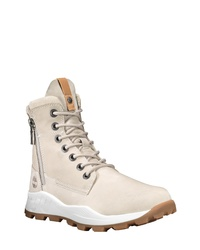 Beige Leather Work Boots