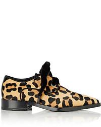 Beige Leopard Calf Hair Derby Shoes