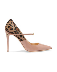 Beige Leopard Calf Hair Pumps