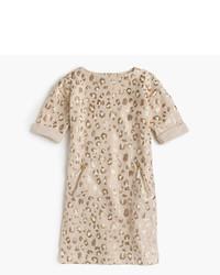 J.Crew Girls Sweatshirt Dress In Sparkle Leopard