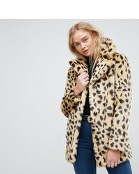 Asos tall asos tall faux fur coat in leopard medium 6744422