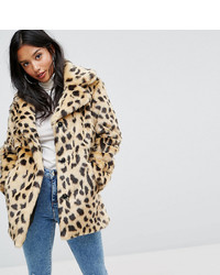 Asos Petite Petite Faux Fur Coat In Leopard