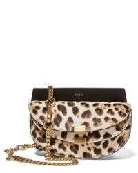 Georgia convertible leopard print calf hair and leather belt bag medium 377696