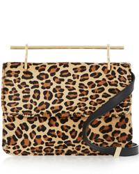 La fleur du mal leopard print calf hair shoulder bag medium 332768