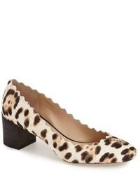 Lauren scalloped leopard print calf hair pump medium 420996