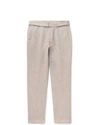 Officine Generale Julian Slim Fit Gart Dyed Cotton And Linen Blend Trousers