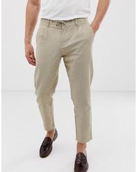 ONLY & SONS Slim Linen Trouser In Beige