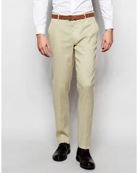 Asos Brand Skinny Suit Pants In Linen Mix