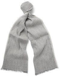 Loro Piana Contrast Tipped Linen And Baby Cashmere Blend Scarf