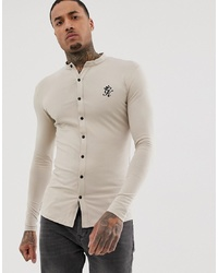 Gym King Muscle Fit Grandad Shirt In Jersey