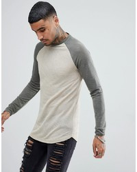 ASOS DESIGN Asos Longline Long Sleeve T Shirt In Linen Look With Curve Hem In Beige