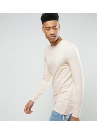 Asos Tall Longline Muscle Long Sleeve T Shirt With Side Zips