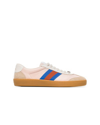 Gucci Neutral G74 Web Leather Sneakers