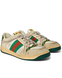 Gucci Virtus Distressed Crystal Embellished Leather And Webbing Sneakers