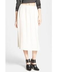 Leith Side Slit Woven Midi Skirt Beige Tint Medium