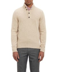 Beige Mock-Neck Sweater