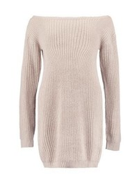 Missguided Ayvan Off Shoulder Jumper Dress Stone