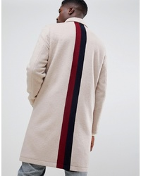 ASOS DESIGN Wool Mix Overcoat With Back Stripe In Camel