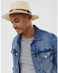 ASOS DESIGN Wide Brim Straw Pork Pie Hat With Paisley Band Detail